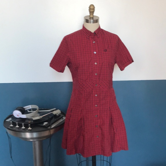 19ef113f Fred Perry Dresses & Skirts - fred perry reissues gingham pleated shirt  dress